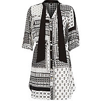 Black scarf print tie neck shirt dress