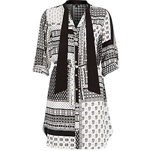 Black scarf print tie neck shirt dress