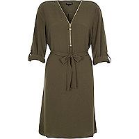 Khaki zip shirt dress