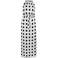 Black tile print waisted maxi dress