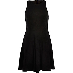 Black faux-suede skater dress