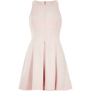 Light pink faux suede skater dress