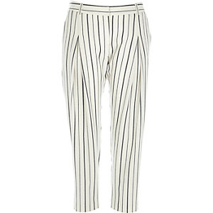 White stripe slim peg leg trousers