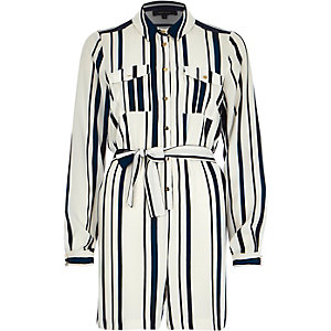 Navy stripe waisted playsuit