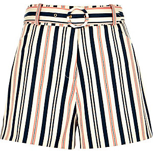 Cream stripe belted high waisted shorts