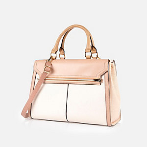 Cream double sided tote handbag