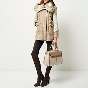 Cream double sided tote handbag
