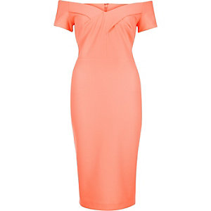Coral bandeau bodycon midi dress