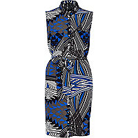 Blue geometric print sleeveless shirt dress