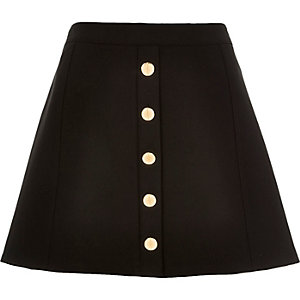 Black button up A-line mini skirt