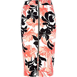 Coral floral print zip front pencil skirt