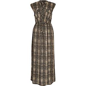 Grey sleeveless printed maxi dress