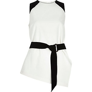 White tie waist sleeveless top