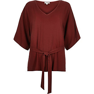 Rust brown belted kimono sleeve top