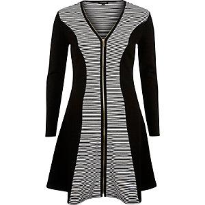 Black jersey zip front skater dress