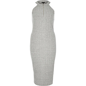 Grey marl zip front ribbed bodycon midi dress