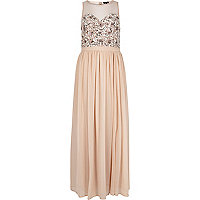 Light pink embellished maxi party dress