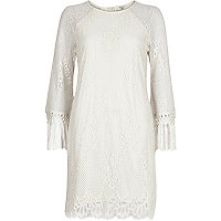Cream lace tassel sleeve swing dress
