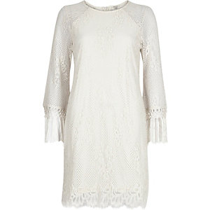 Cream lace tassel sleeve swing dress