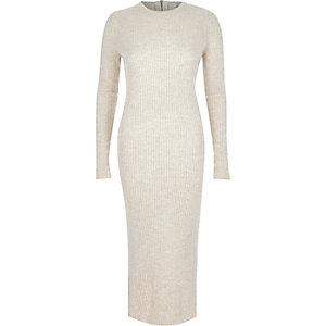 Cream ribbed midi dress