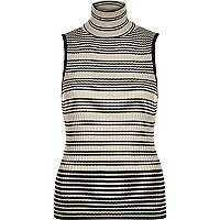 Black stripe turtle neck sleeveless knit