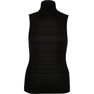 Black metallic turtle neck sleeveless knit