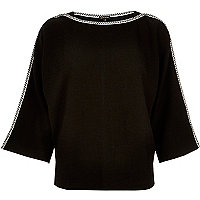 Black contrast stitching knitted kimono top