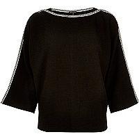 Black contrast stitching kimono top