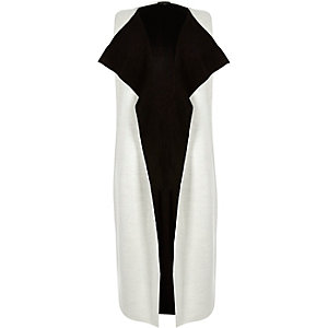 White longline sleeveless cardigan