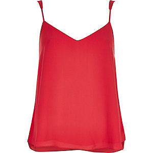 Bright pink V-neck cami top