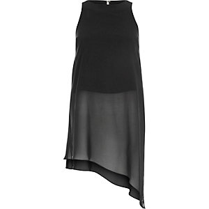 Black longline sheer asymmetrical tunic