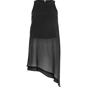 Black longline sheer asymmetrical tunic