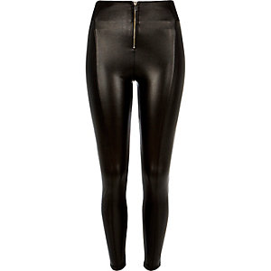 Black coated high waisted zip leggings