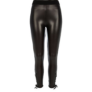 Black high waisted coated eyelet leggings