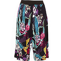 Black floral print jersey culottes