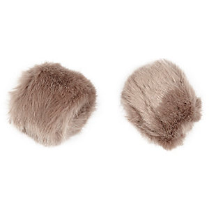 Light brown faux fur snap on cuffs