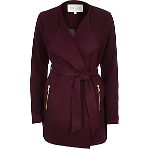 Purple belted jersey jacket