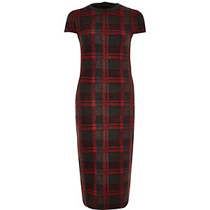 Red check bodycon dress