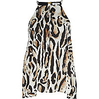 Beige animal print bow cami