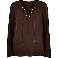 Brown lace up eyelet long sleeve top