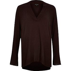 Brown V-neck long sleeve top