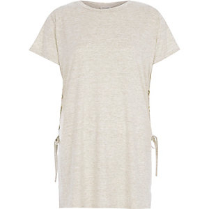 Beige lace up side t-shirt