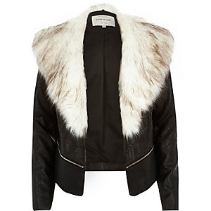 Black leather-look faux fur collar blazer