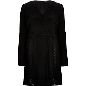 Black lace trim wrap front dress