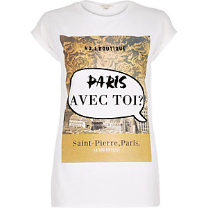 White Paris print fitted t-shirt