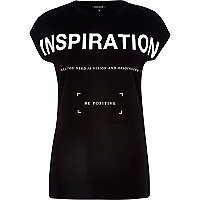 Black inspiration print fitted t-shirt