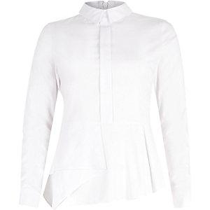 White fitted peplum shirt