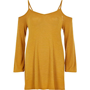 Mustard yellow cold shoulder cami top