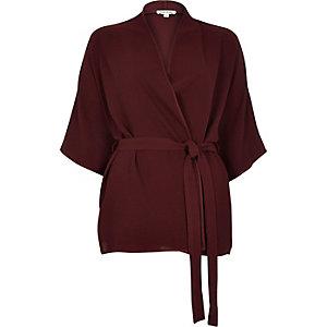 Brown short belted kimono jacket