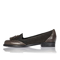 Dark grey leather and suede brogue loafers